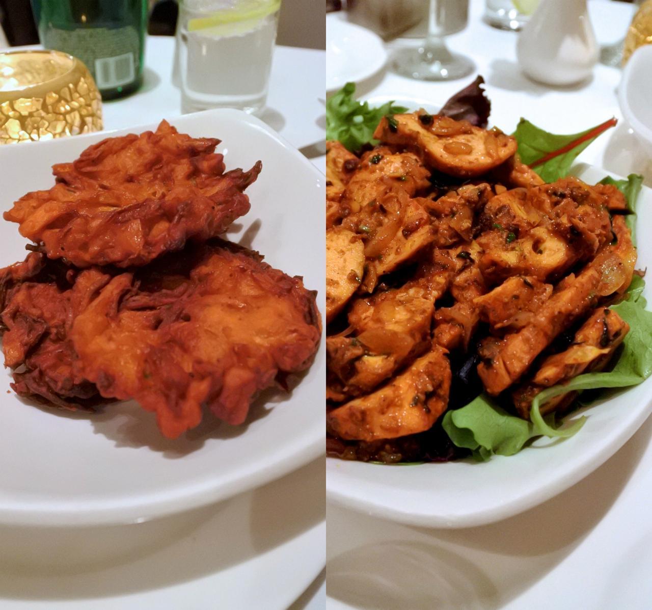 左がオニオン・バッジ、右がタンドーリ・チキンだと思います。チキンはスパイス具合、焼き具合、完璧〜