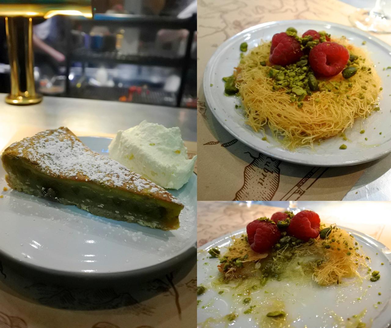 トルコでよく見かけるデザートのキュネフェも、バーバリーの手にかかると洗練されたデザートに。左がピスタチオ入りのケーキ hachcake。これまで食べたことない美味しさ。どちらかというと、和菓子あんこ系のお味がしたんですが・・・