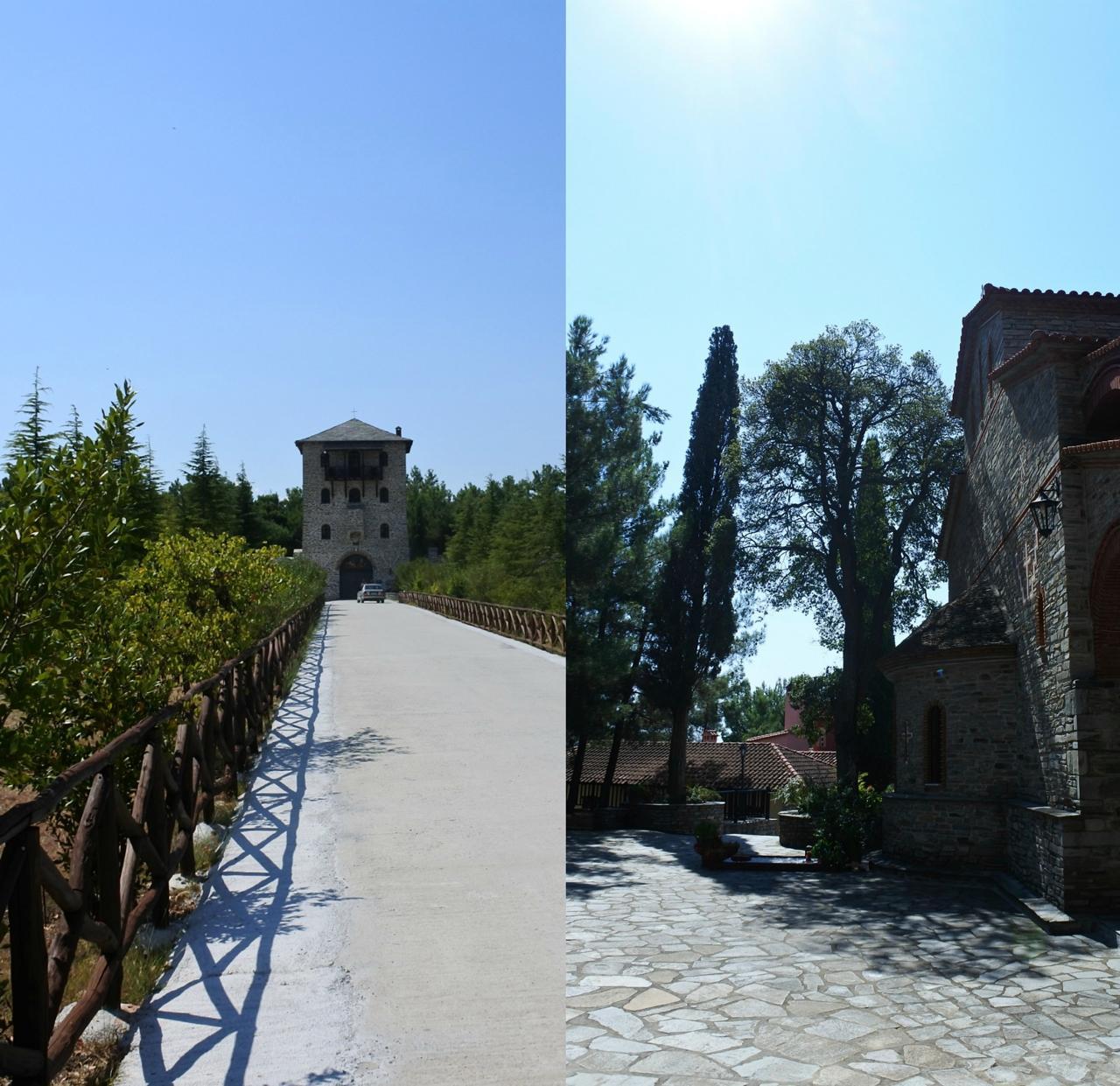 修道院の建物がある敷地までのびる参道(左)