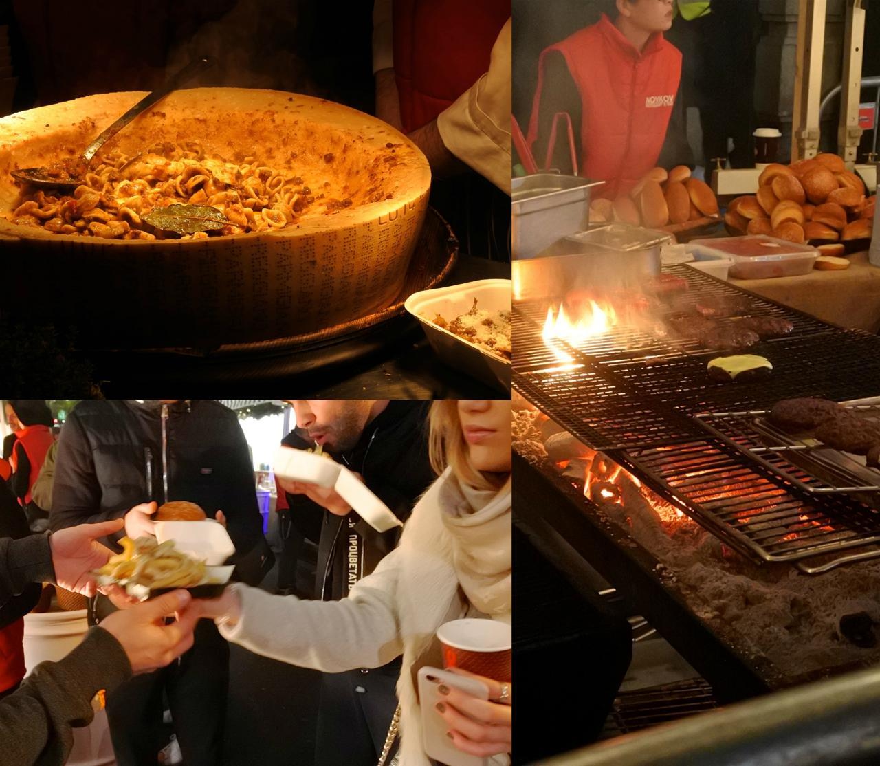 バーガー&チップスは不動の人気。でもパルミジャーノの器に入ったパスタも旨そう也☆