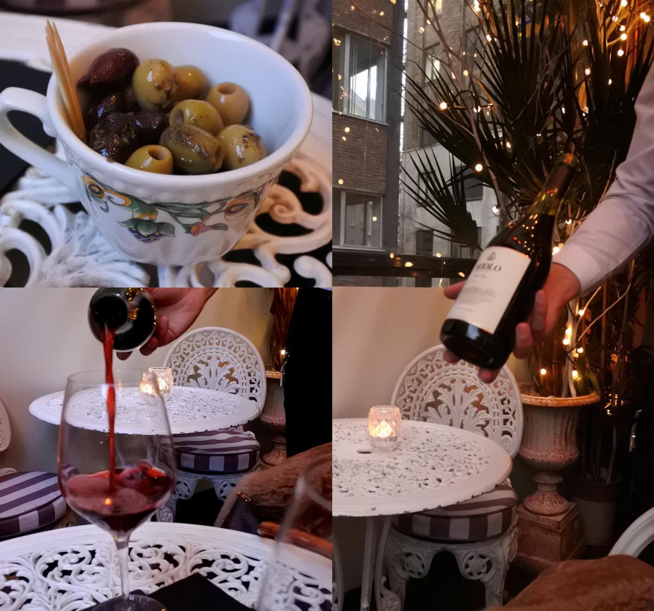 カクテルよりも赤ワイン!  二人でボトルを頼んでちびちびと楽しみます ^^