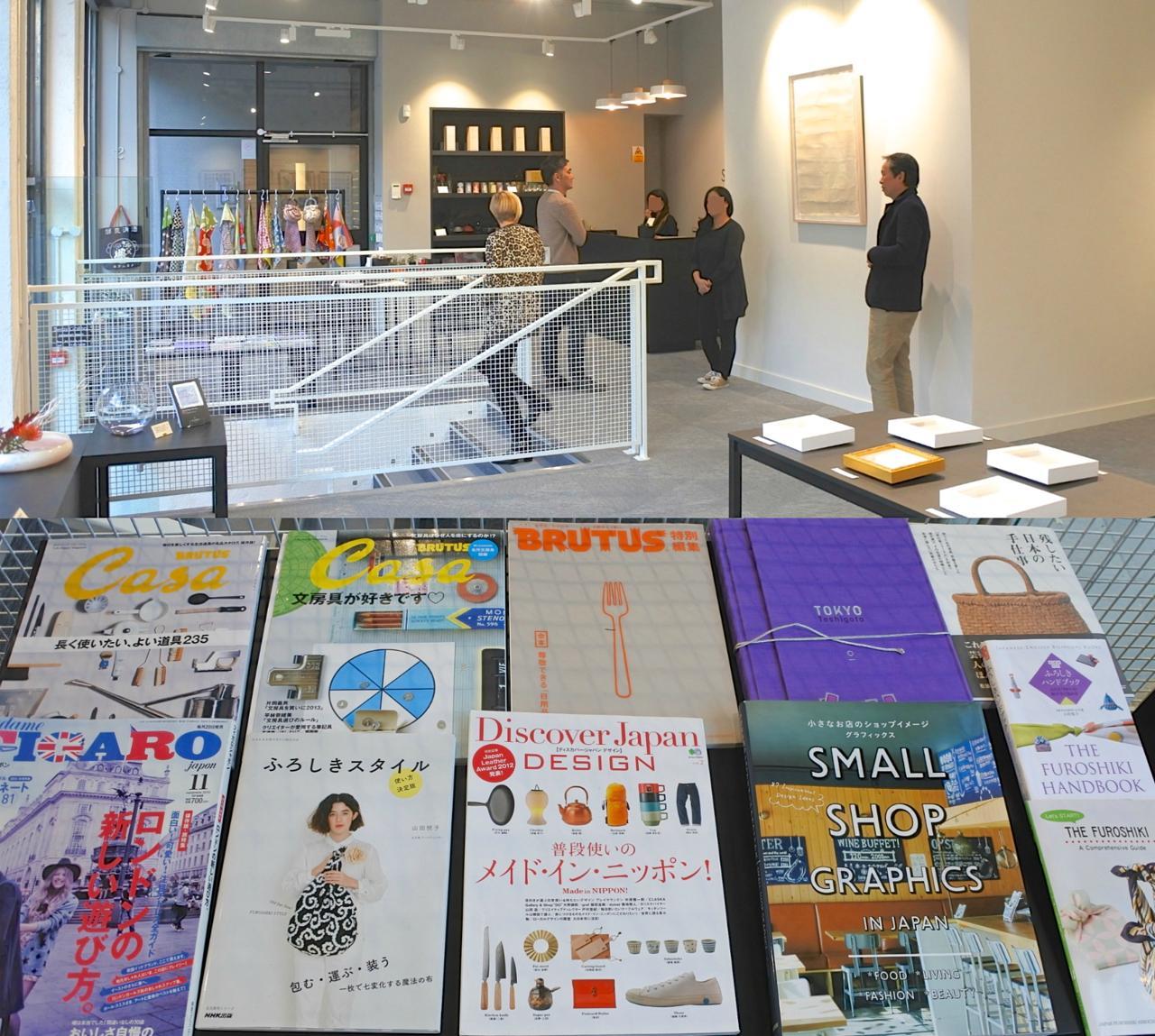 左手にショップ・スペースが広がる。日本の雑誌や風呂敷ムックがたくさん!!