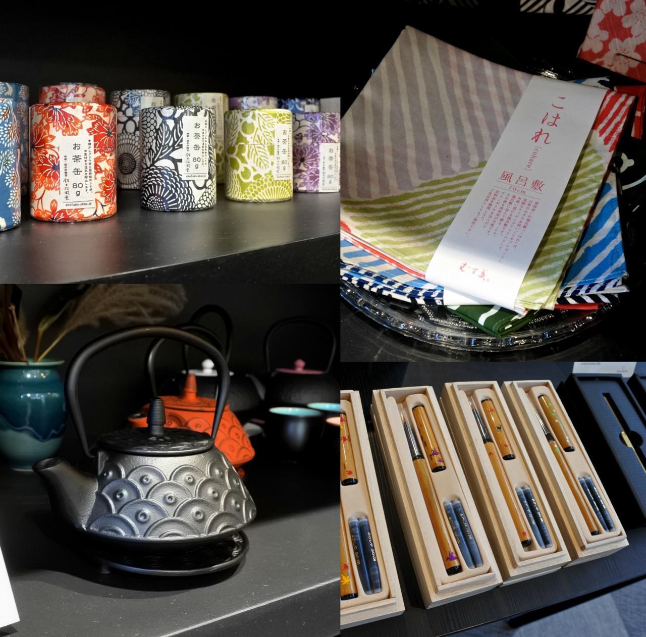 鉄瓶や筆ペン、茶筒に風呂敷、日本おステーショナリーなど、美しくも繊細な日本文化を紹介するのにちょうどいいアイテムばかりをセレクト。