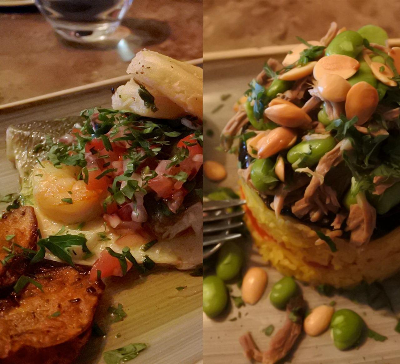 左がシーフードのグリル、右がラム肉のマラクーバ