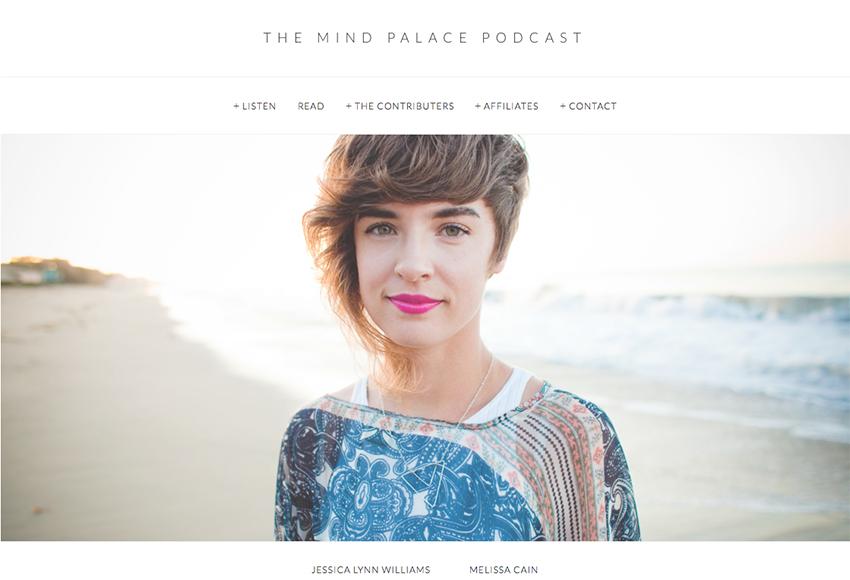 『マインドパレス』Podcastのサイトのスクリーンショット。写真の女性がメリッサです。