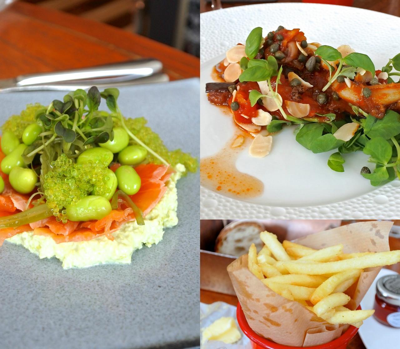 左がスモークサーモンと枝豆の前菜だったと思います。右上が貝類のトマト味みたいなのだったかと。実は昨年の訪問で詳細を忘れてしまいました・・