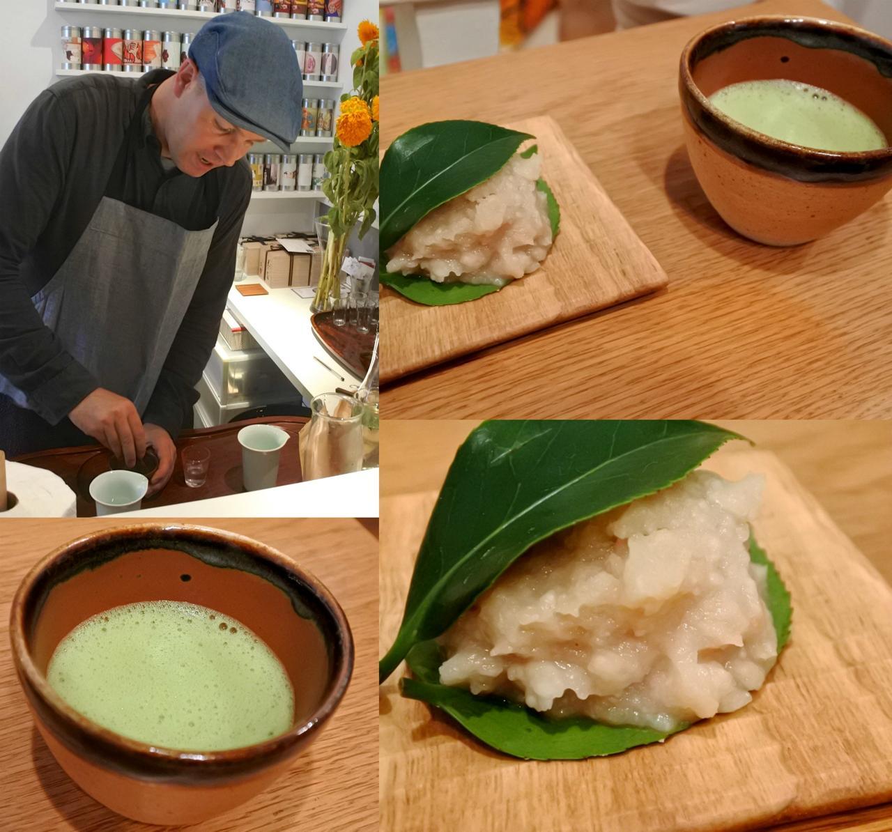 お茶をたてるティムさんと、入江さん作の上生菓子