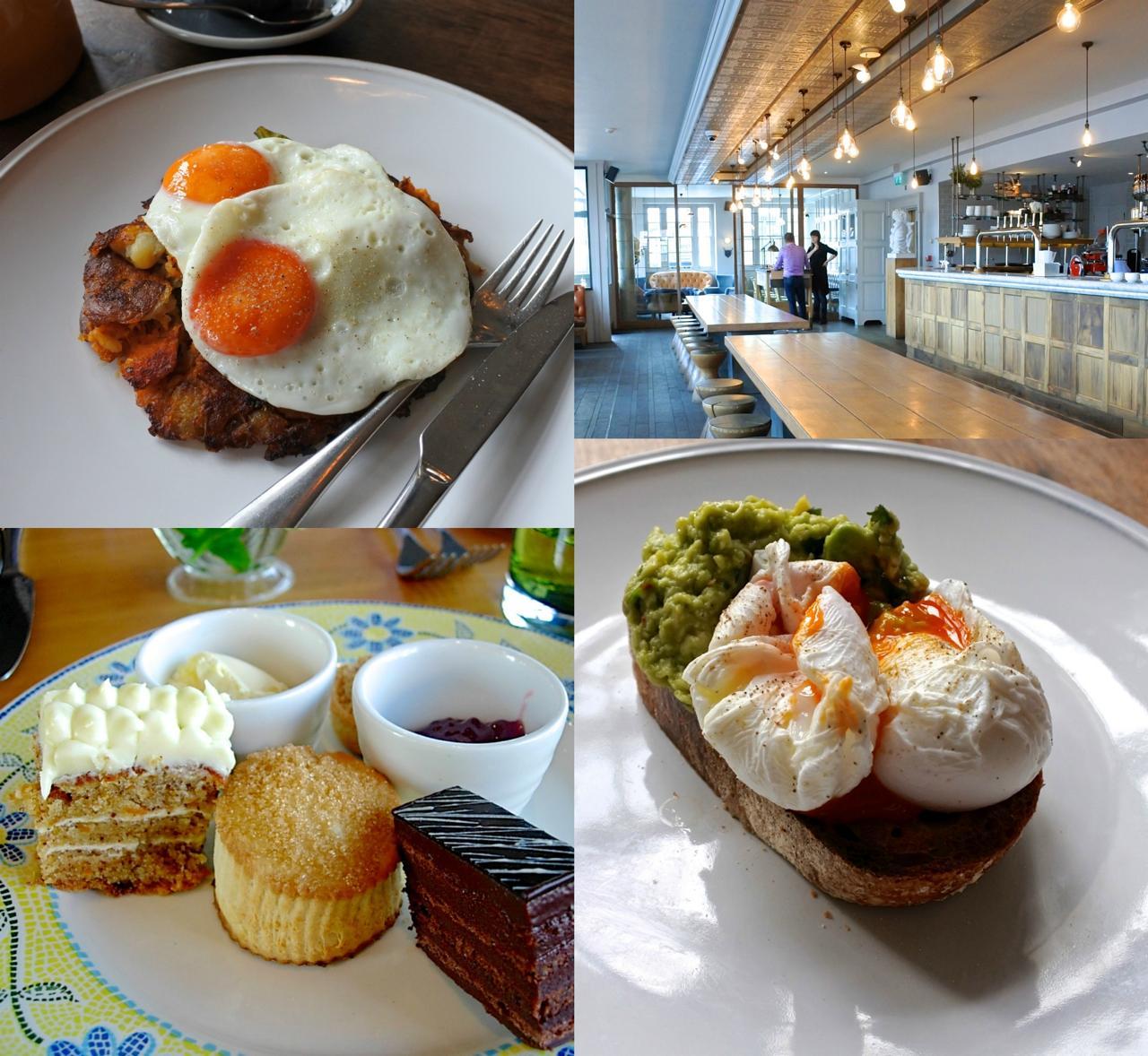 人気の朝食メニューにはハッシュにダック・エッグを組み合わせたボリューミーな一品も。左下は少し前のアフタヌーン・ティーの一部。ここのスイーツは確か、自家製のはず。