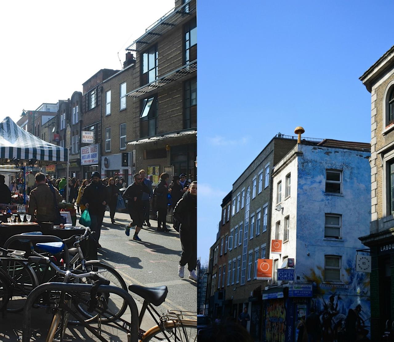 左はブリック・レーン。右の建物の上に見えるキノコのアートを見よ!