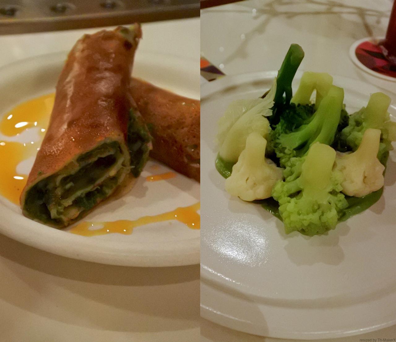 ひよこ豆のパンケーキ・ロール(左)とブロッコリーのペコリーノ・ソース