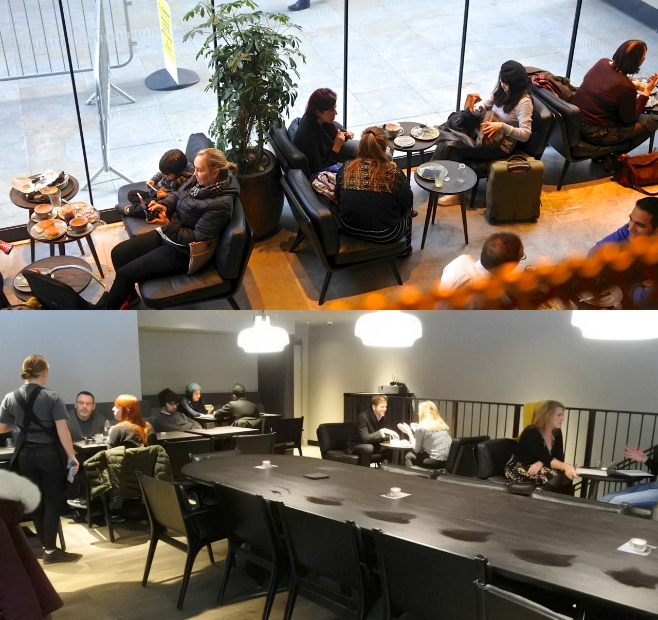 上の写真は、2階席からの眺め。下の写真は、2階席に置いてある長〜いコミューナル・テーブル。なかなか落ち着ける空間です