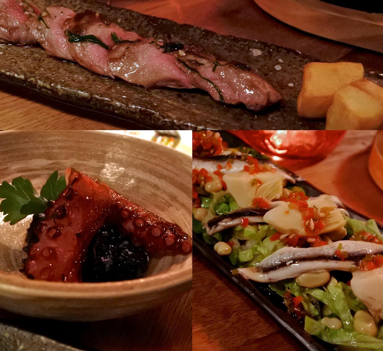 イベリコ豚のグリドル焼き、ボケロネスのサラダ、タコとイカスミご飯、ぜんぶ美味しいです♪