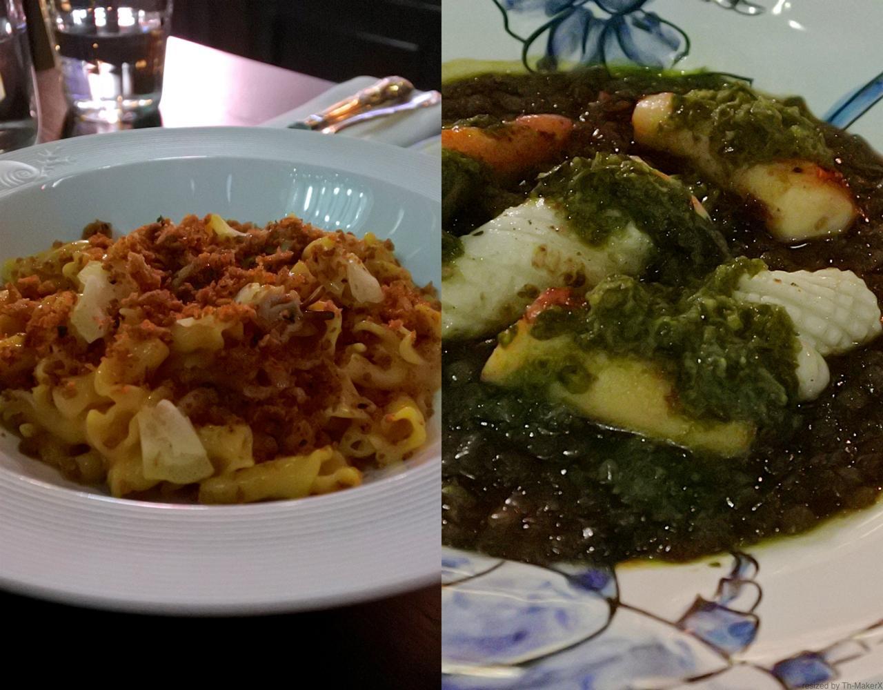 右はイカとタコのグリルの下に、レンティル煮とサルサヴェルデが添えられている一皿。いろいろな意味で完璧な一皿。左はクラムのパスタなんだけど、これもまたコクがあって旨いのれす〜食べてみてみて