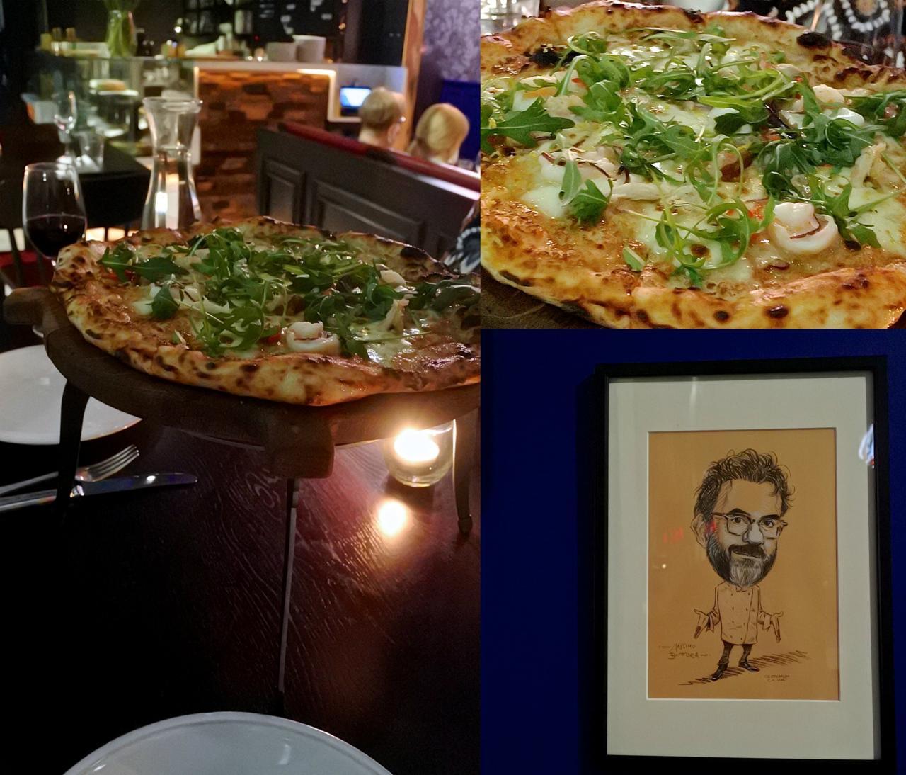 ちょっと塩辛かったけど平らげてしまったゲスト・ピザ。右下はポールさんではないと思うのですが、毎月のゲスト・シェフの顔を、こうやってイラスト化していくコンセプトみたい。やるなぁ。