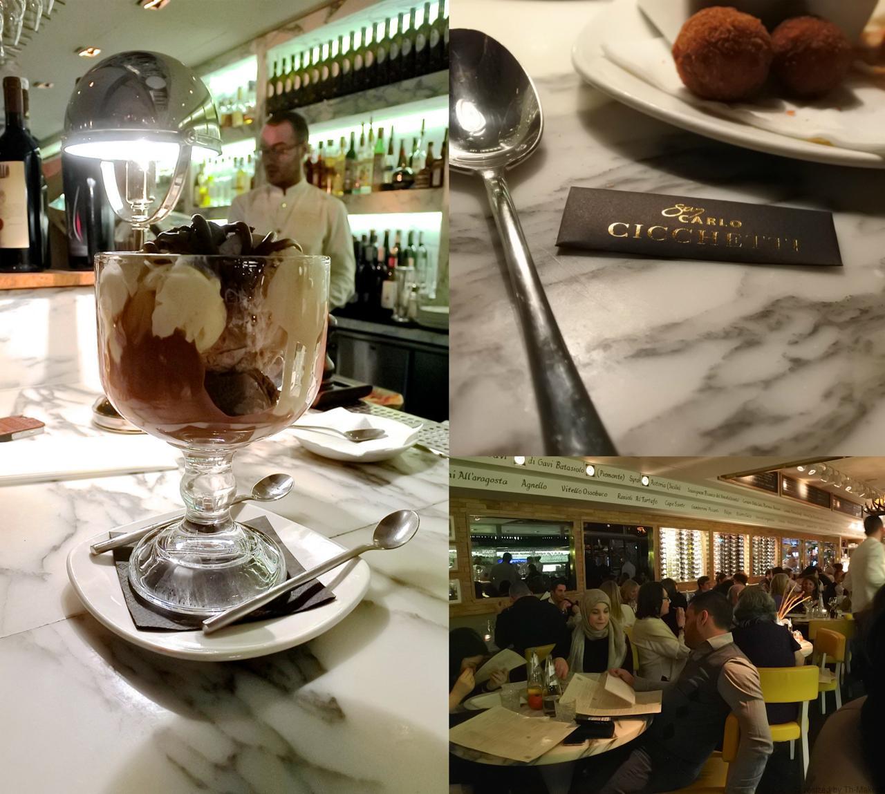 お隣の女性2名が召し上がっていた巨大チョコレート・アイスクリーム・サンデー。