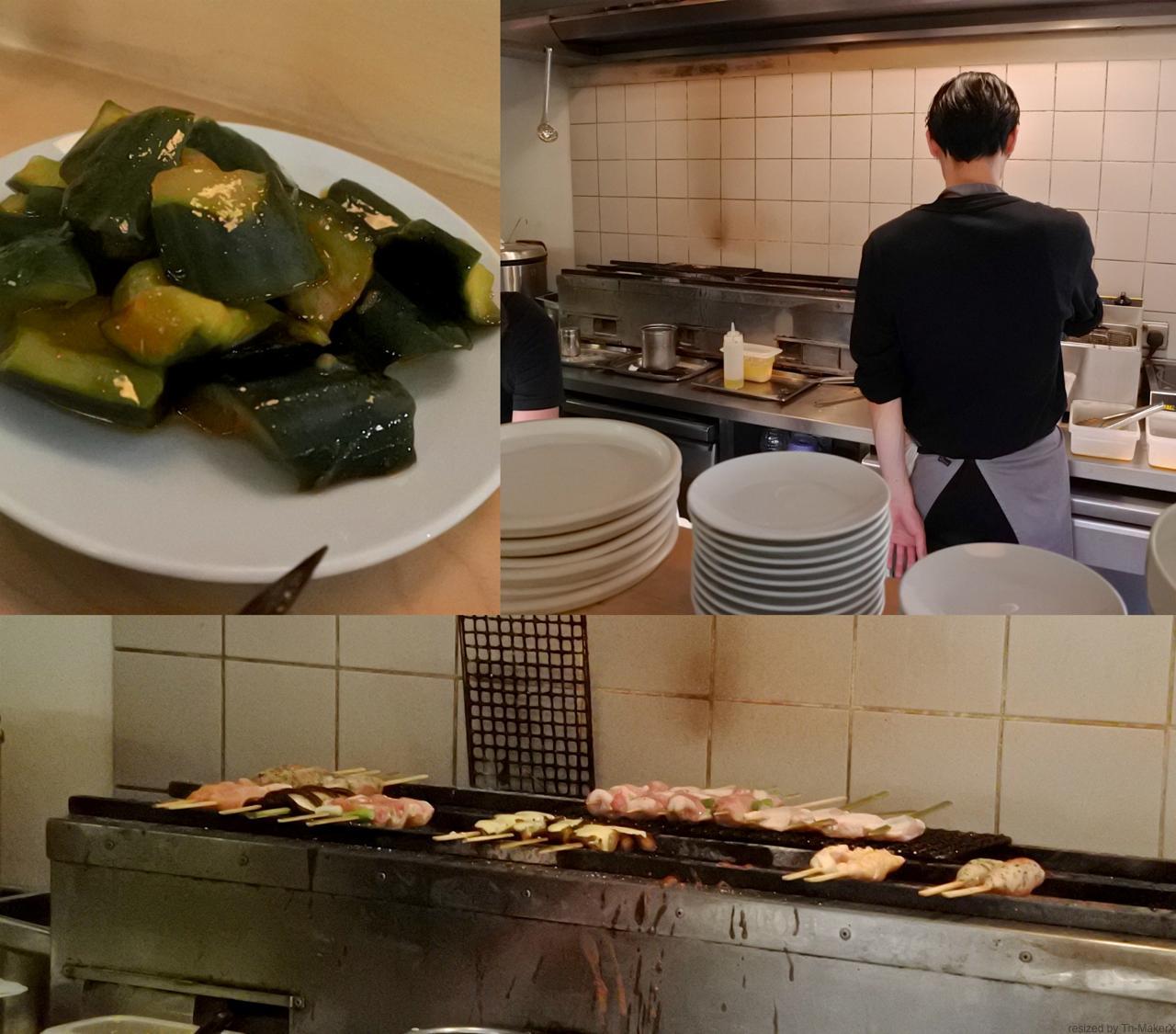左上はピリ辛キュウリ漬け。右で揚げ物を担当しているのは日本人の方でした ^^