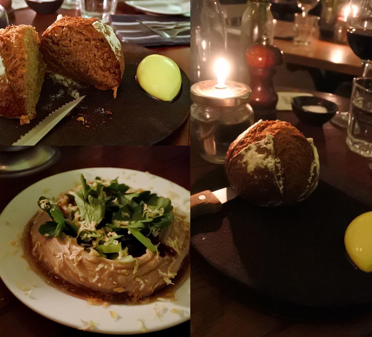 左はクリ入りのフモス。ローズマリー風味のピタ・ブレッドが付きます。右が自家製ソーダ・ブレッド!