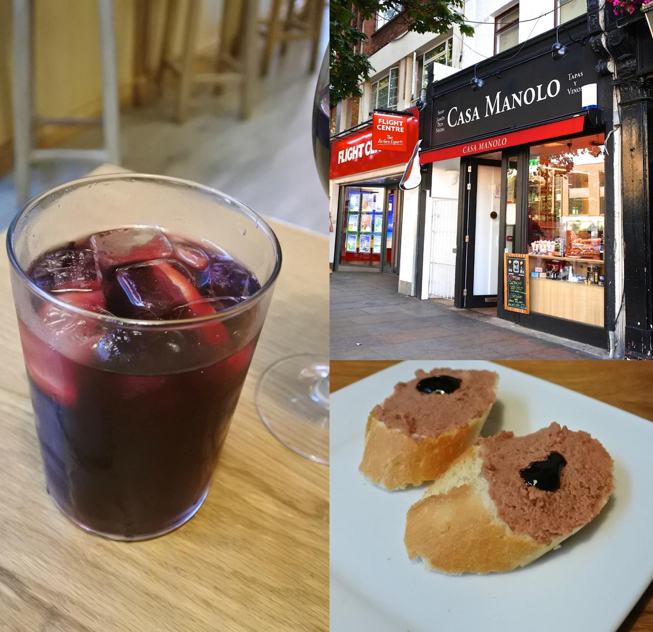左は赤ワインをレモネードで割ったTinto de Verano。うまい☆ 右は突き出しのパテのカナッペ。