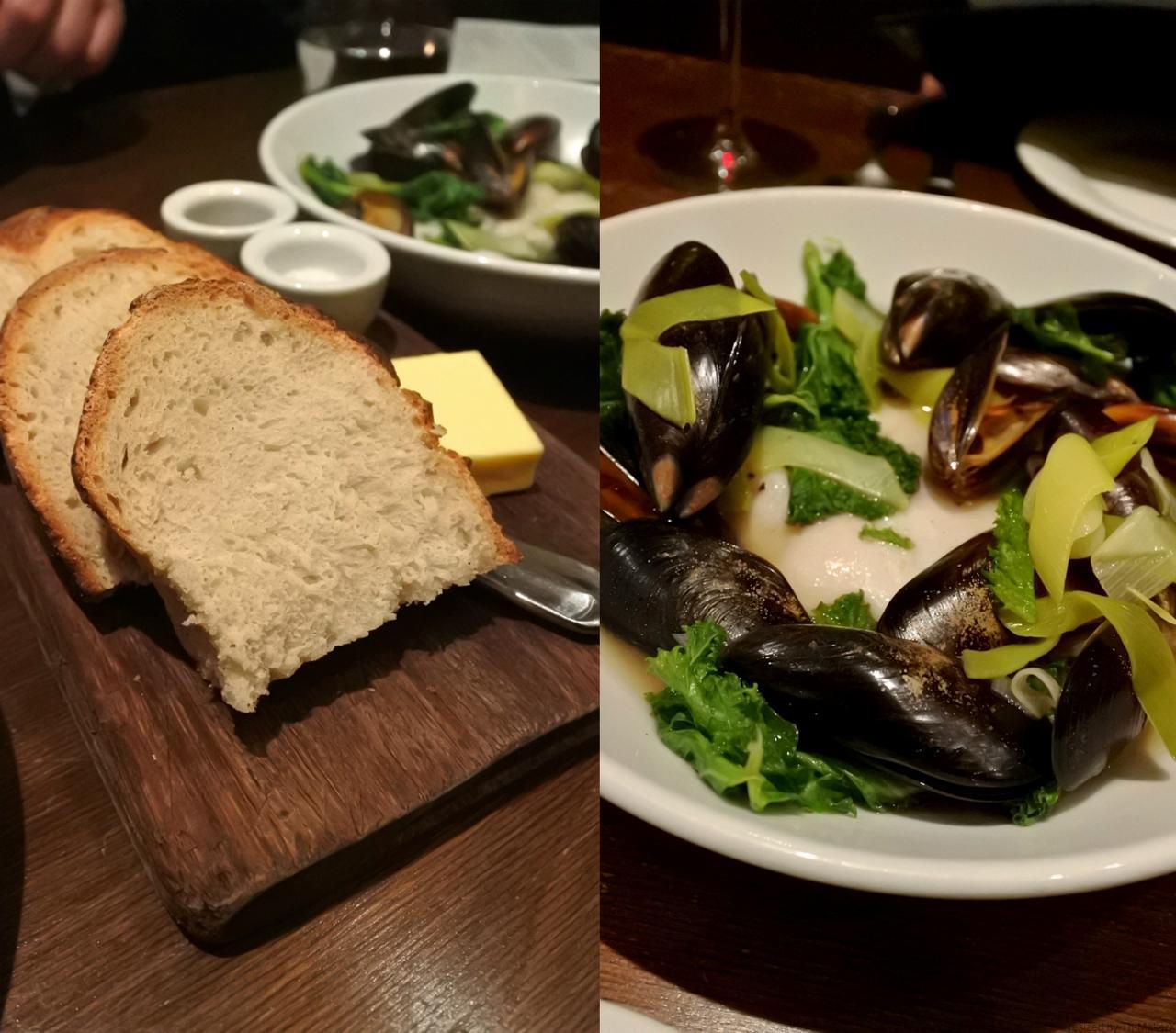 タラとムール貝。この日のハイライトにしたかったのだけど、タラが少し塩辛かった。もう少し塩抜きしてもよかったのかも。でも魚介のブロスは美味しく、料理アイデアとして秀逸でした。