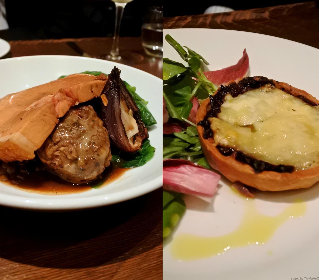 左はポーク&ファゴット。こちらもコクのある美味しさを楽しみつつも、なぜかさっぱりとした印象の一品。右は前菜の中からオニオンタルト! 素直に美味しい☆