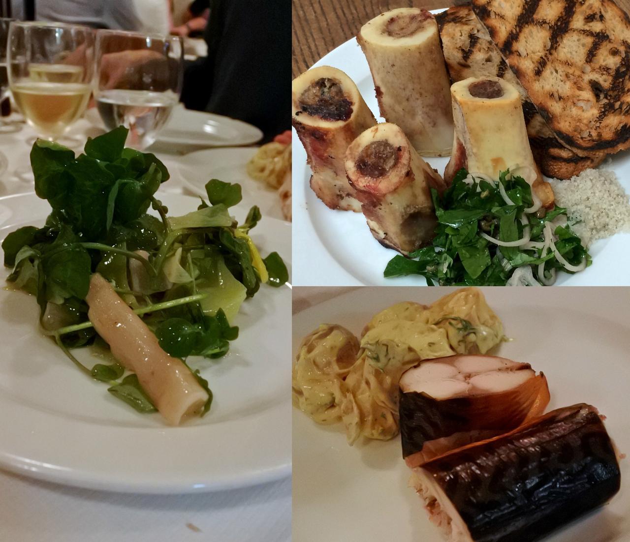 右上が骨髄とパセリのサラダ。右下はスモークしたぶつ切りの鯖とポテト、左は西洋ゴボウのサラダ