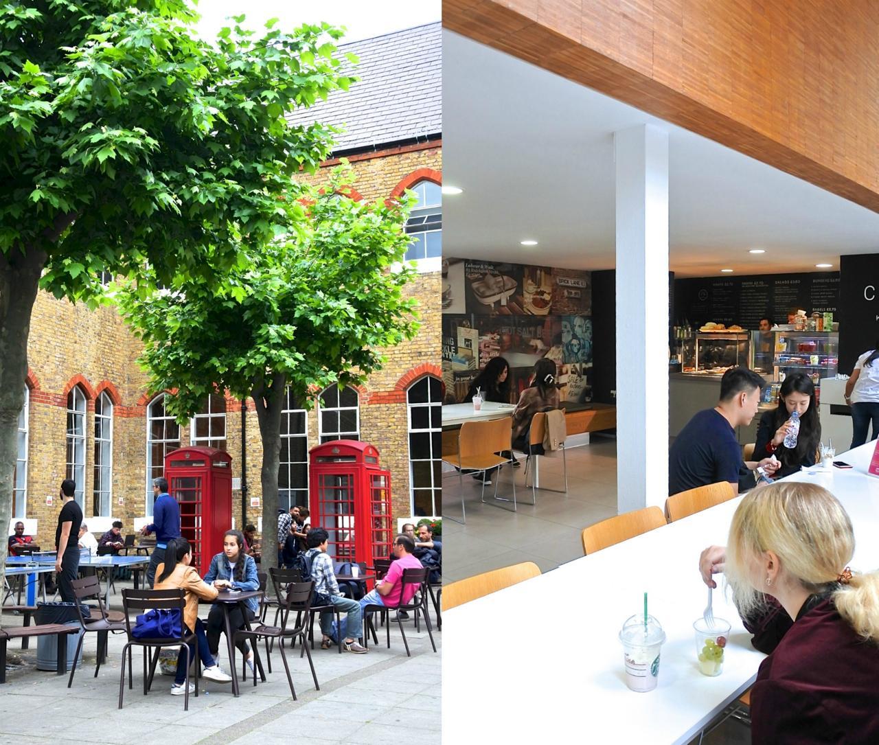 右は新しくなったカフェテリア!  モダン仕様です ^^  天気がいい日は外テーブルでブレイクも素敵です。