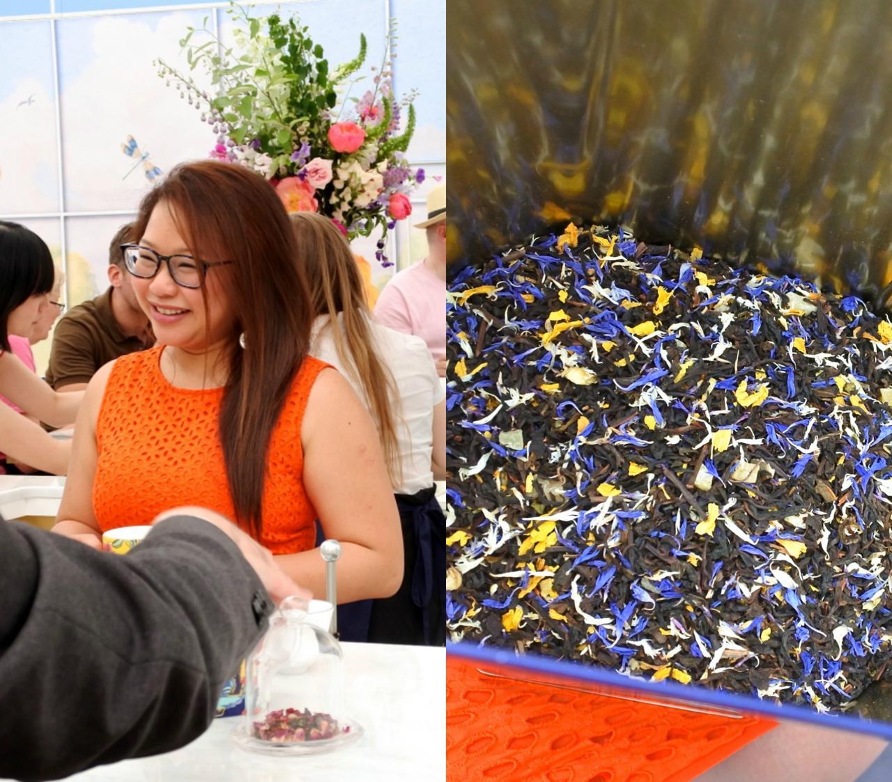 右の茶葉は「ブルー・パゴタ」。見た目の美しさも格別です