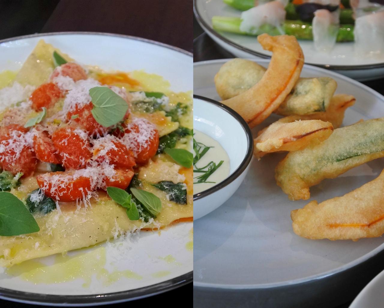 スクアッシュとズッキーニの天ぷら(右)は熱々を食べるべし。