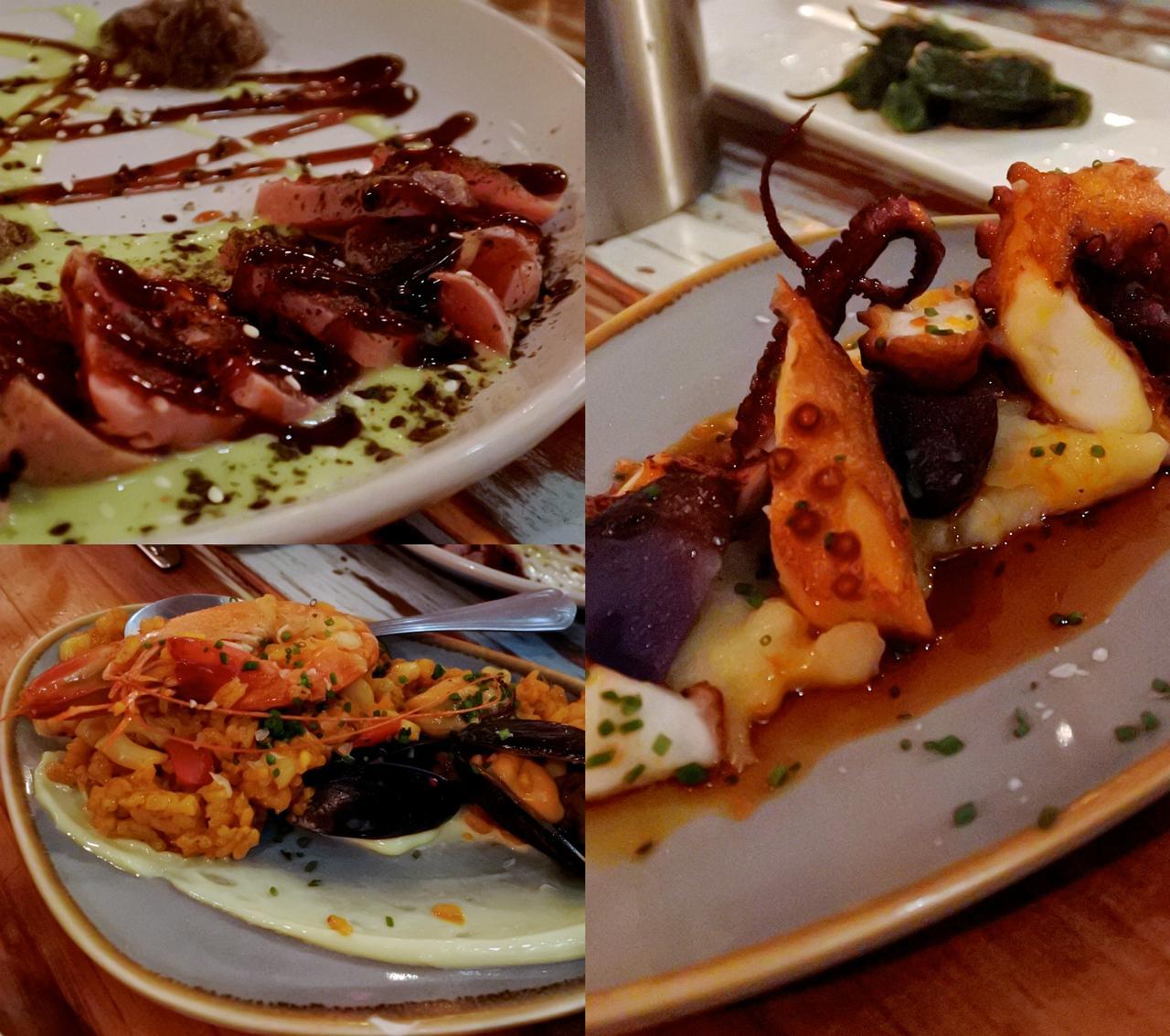 右はタコとフモスの一品。これはタコの火の通り具合もソースも美味しくて、超オススメ。左上のマグロのたたきも新鮮な魚で美味しかったです