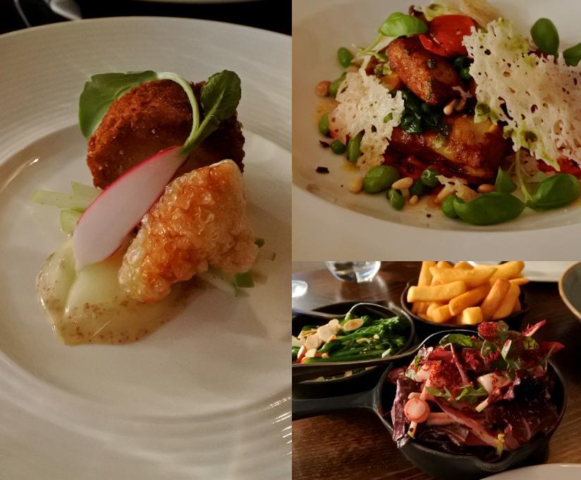 左がピッグ・ヘッド。右上がニョッキで、右下はサイド料理の集合写真。