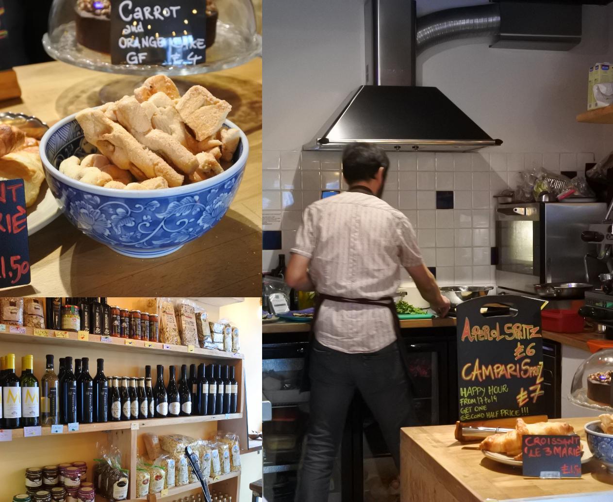 まるで家庭用キッチン ^^  左上はカウンターの上に置いてあったお菓子。店内ではイタリア食材も売ってます(左下)