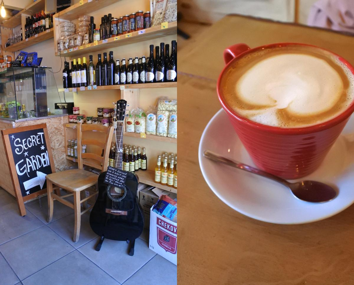 イタリアン・コーヒーも美味しい☆ さりげなく立てかけてあるギター。お好きにお弾きくださいというスタンスみたい。