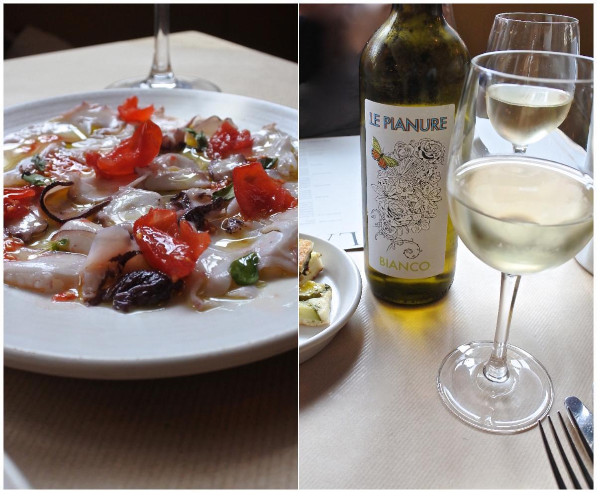 タコのカルパッチョはフルーティーなトマトが決め手!  とても美味しいです。この花柄のラベルが可愛らしい銘柄の白ワイン、ピノ・グリージョですが、この日の料理にぴったりと合いました。おすすめ!