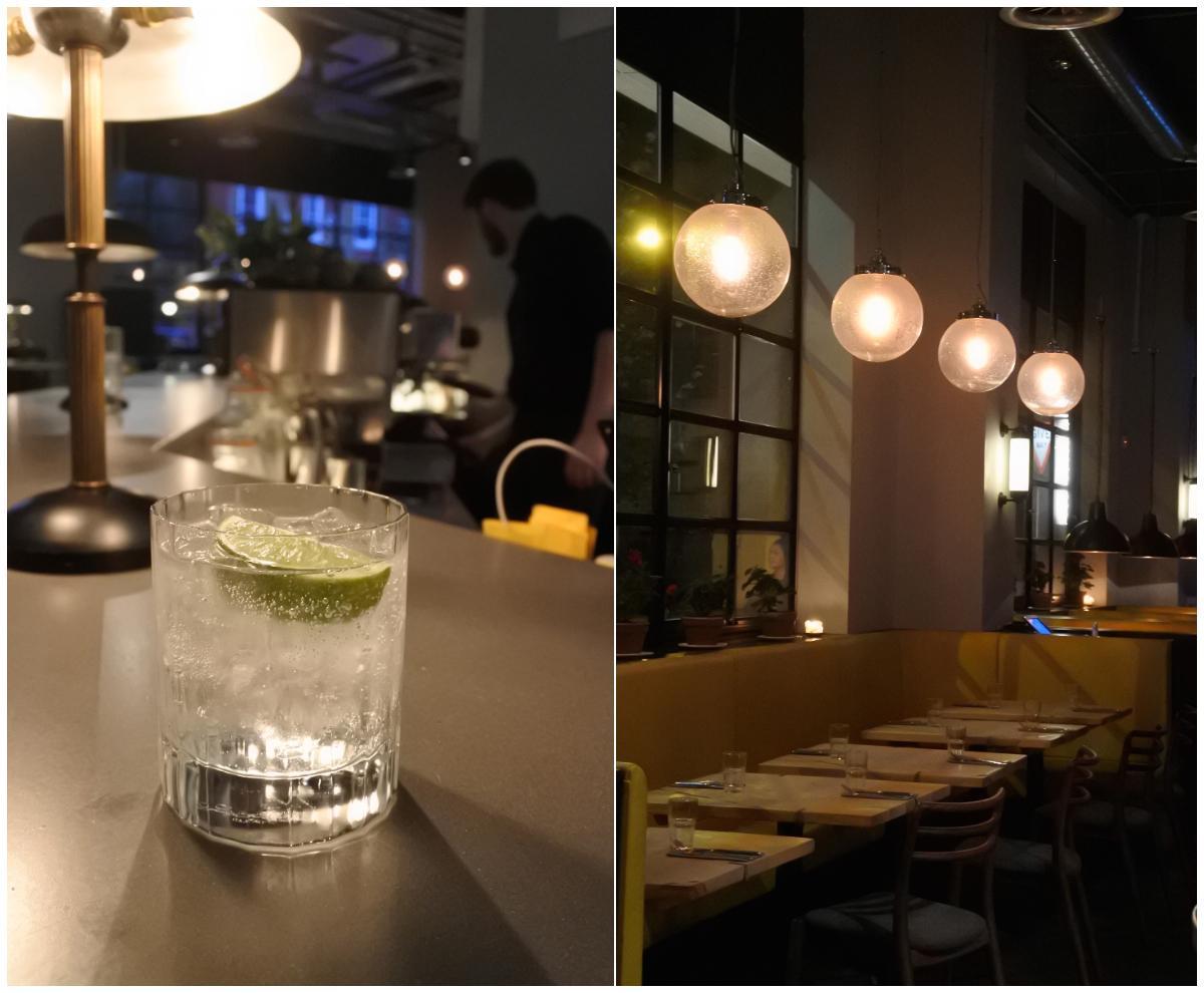 併設バーでお酒を♪ 右の写真はレストラン部分です。
