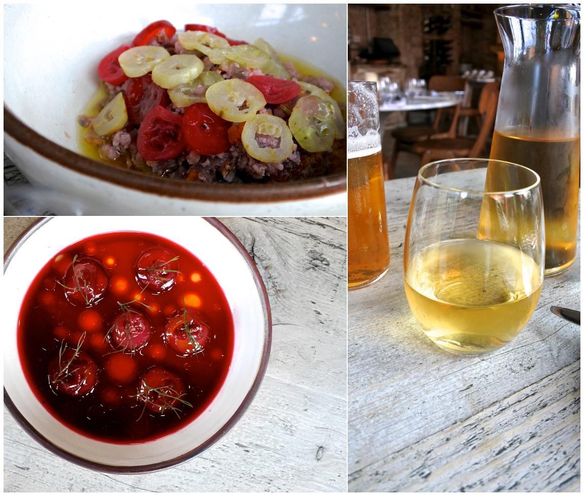 左上はタコのアップです。右がオレンジ・ワイン、そして左下が赤いデザート