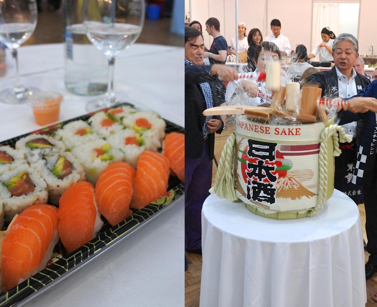 樽酒の鏡開き!(右)をこんなところで見られるとは ^^   寿司はZingっていうケータリング会社のものが絶品だったそうですが、私たちは別の会社のものを・・・