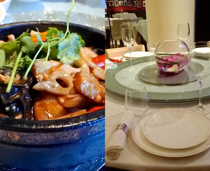 左は茄子料理です。蒸した茄子、蓮根やパプリカなどいろんな野菜が入っていました。味付けは見た目通り、中華です ^^