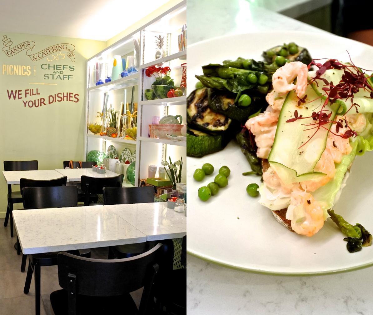プローン・カクテルのオープン・サンドとズッキーニ&アスパラガスのサラダ