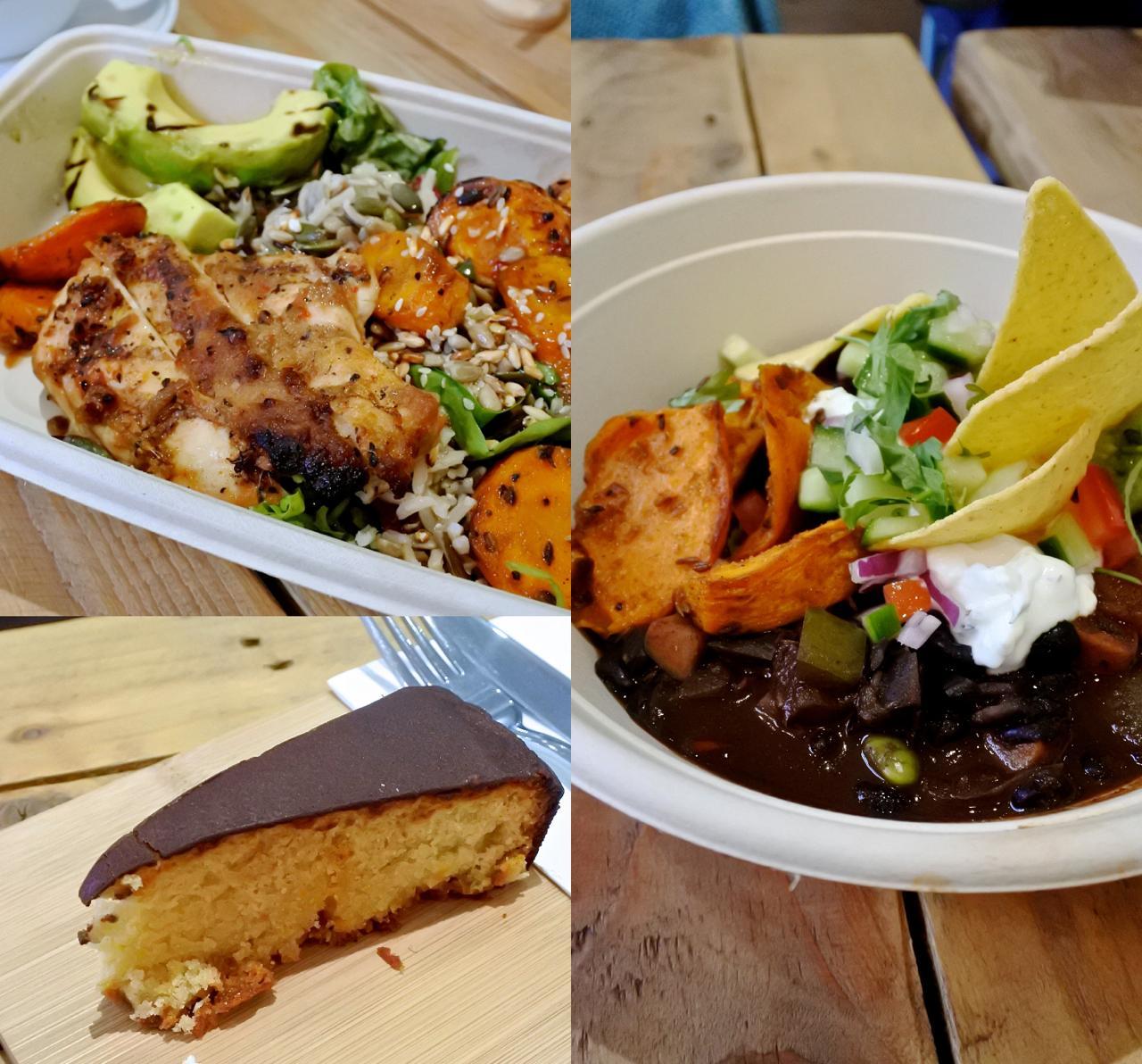 右は日替わりのブラックビーン・シチューにワカモレなどをのせたメキシカンな一皿。左上は「Rabbit」と名付けられたサラダにチキンを載せたもの。量はさほど多くないので、軽いランチにぴったり。左下はアーモンド粉のケーキ☆