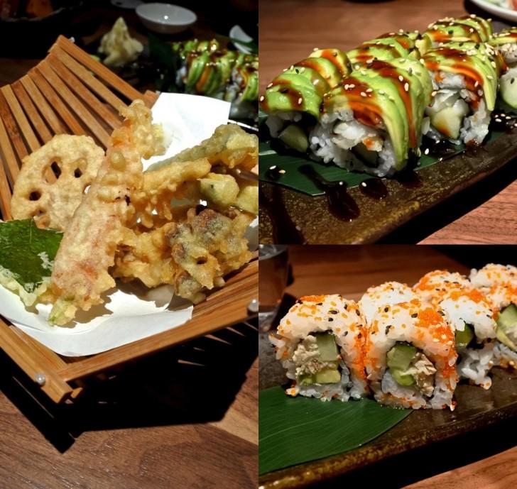 右上から時計回りに、Takaスペシャル巻(うなぎ入り)、カリフォルニア巻、野菜天ぷら