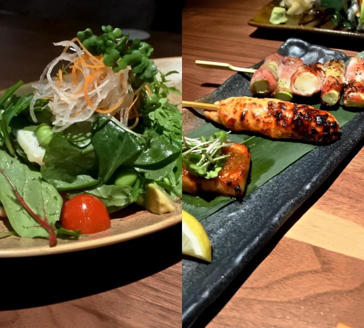 左がタコのサラダ、アボカド入り。右は焼き物3種。上からアスパラ・ベーコン、つくね、豚バラ