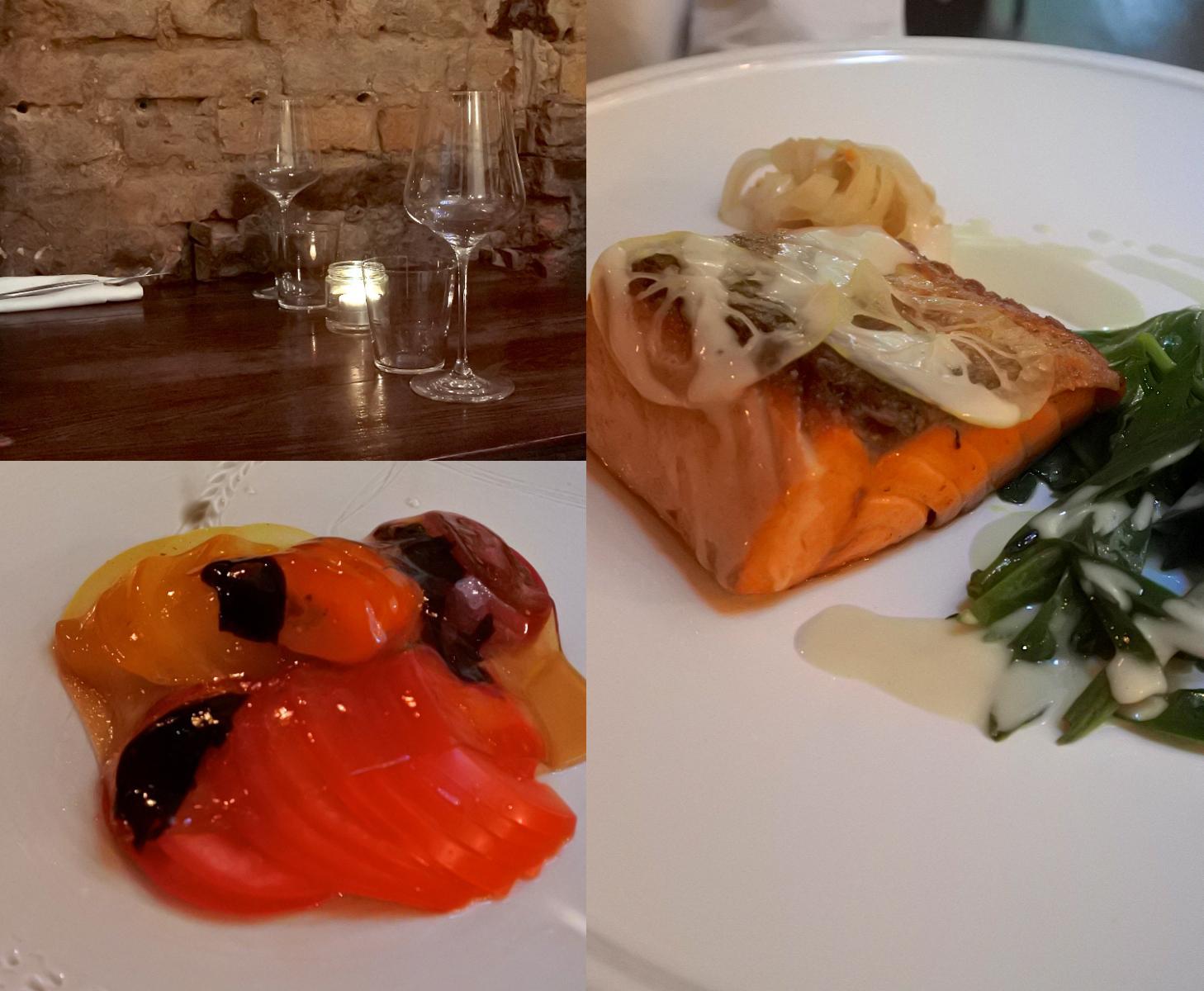 コンソメ・ゼリーをかぶせたトマト・サラダ(左下)とサーモンのソテー