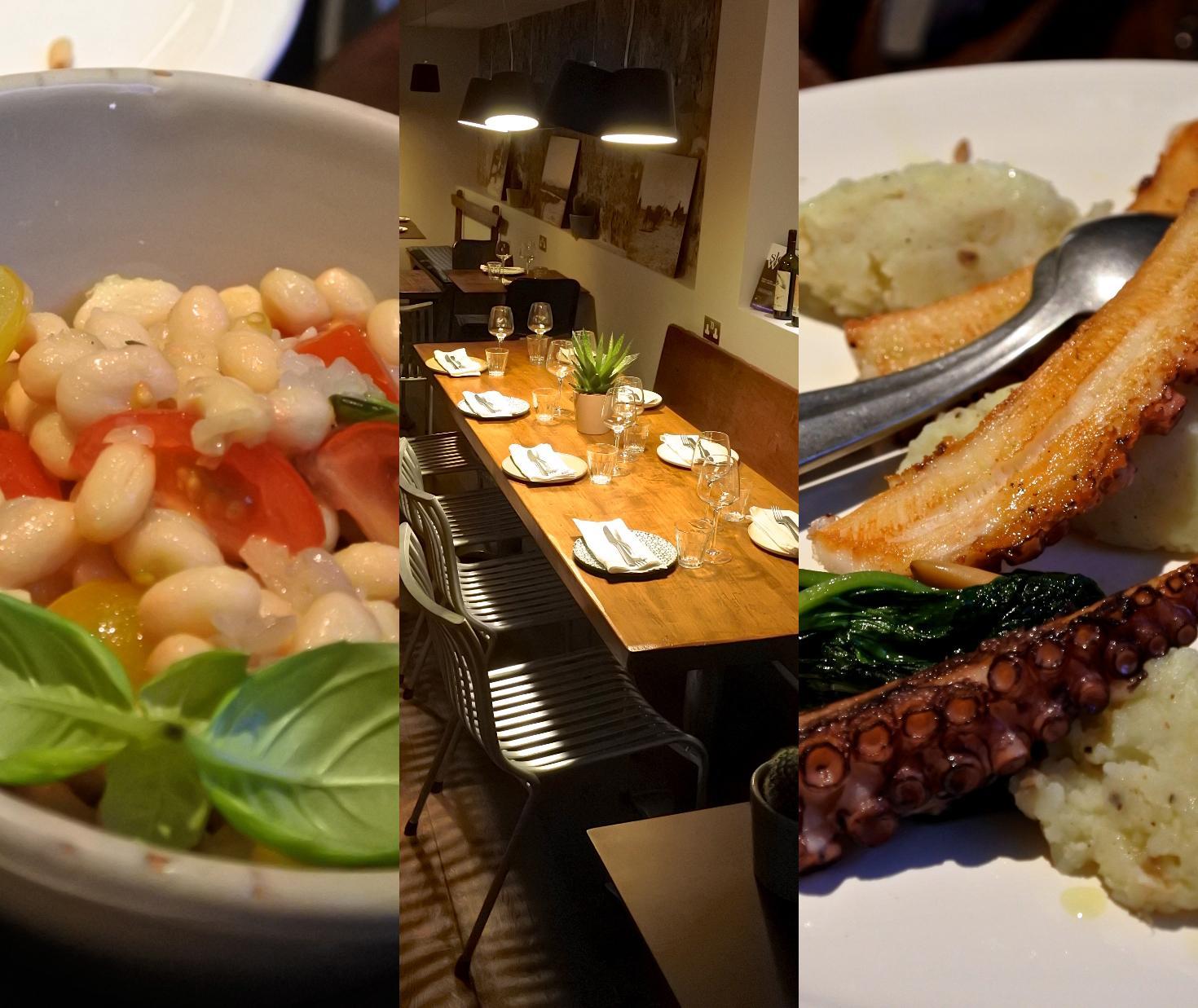タコのグリル、上手に調理されていました。左は豆のサイド・サラダ。店内は細長くて、手前がバーと数席のテーブルがあり、奥にメイン・ダイニングがあります。