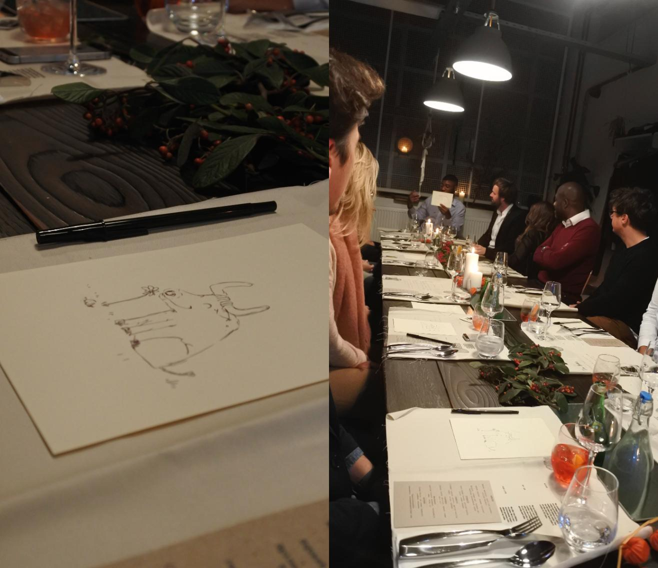 左のイラストは、今回のイベントのためにコペンハーゲンからやってきていた、SEI.LARのロゴをデザインしたデザイナー氏の手にナルもの。彼に多大な影響を与えたアニメに登場するキャラみたいなんですけど、残念かがら私にはわからなかった