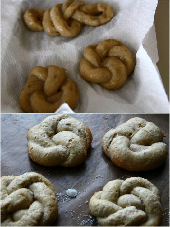 下の写真の上2つが茹でてから焼いたもの、下ふたつがただ焼いたもの。