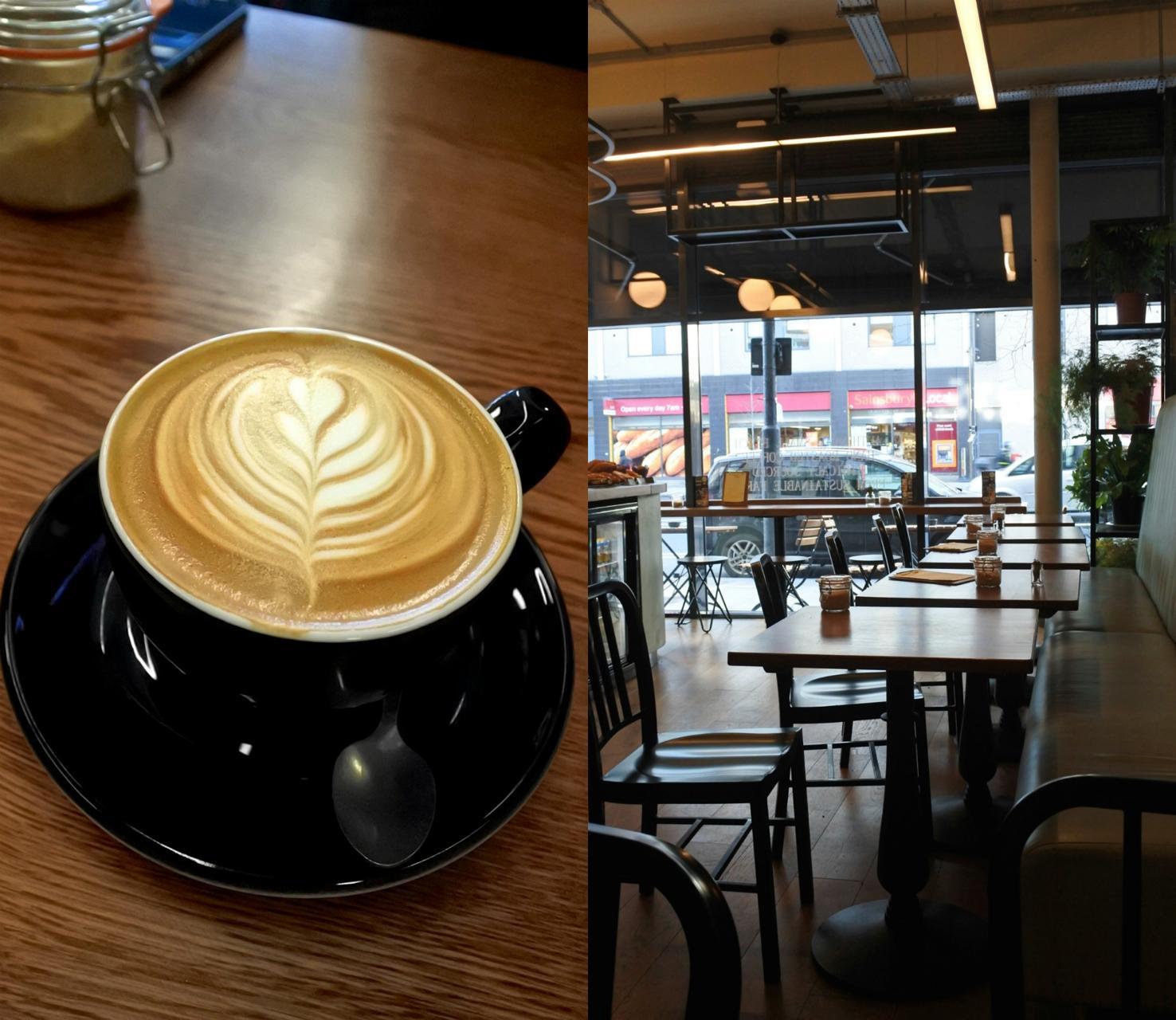 イーリングの第一号店にあるマイクロ自家焙煎所でハンド・ローストしているというコーヒーは高品質のアラビカ・ビーンズ100%で甘味があるタイプ。壁に掲げてある説明書きには「ゆえにフレーバーを逃しません」とある。