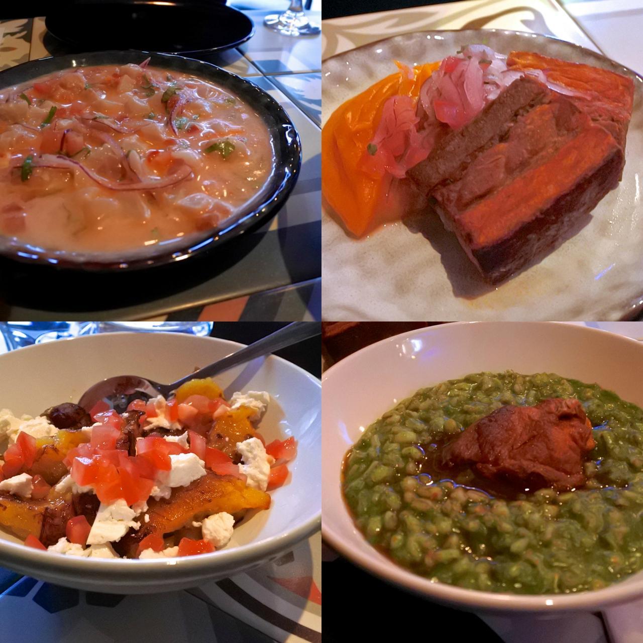 左上から時計回りに:スズキのセビーチェ、豚バラ料理、ラム・レッグのパール麦煮込み、完熟プランテインとチーズのサラダ。