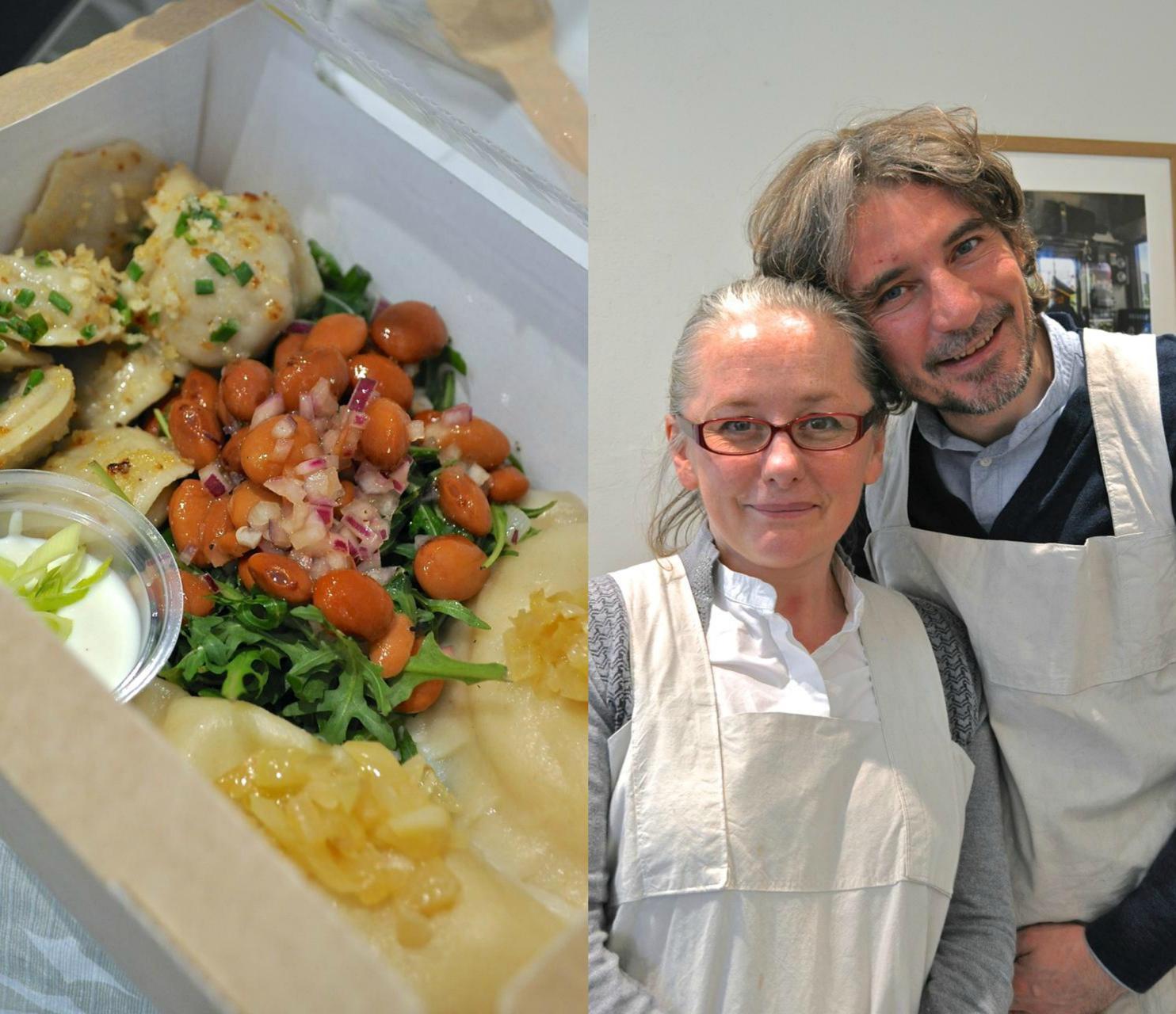 フランコさん(右)とカーシャさんカップルがセンスも味もいいケータリングを提供。この日のダンプリングもサラダも大変美味しゅうございました♪