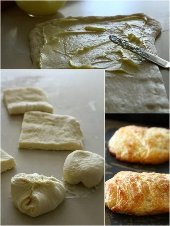バターとラードを何度も折り込んで生地作り☆