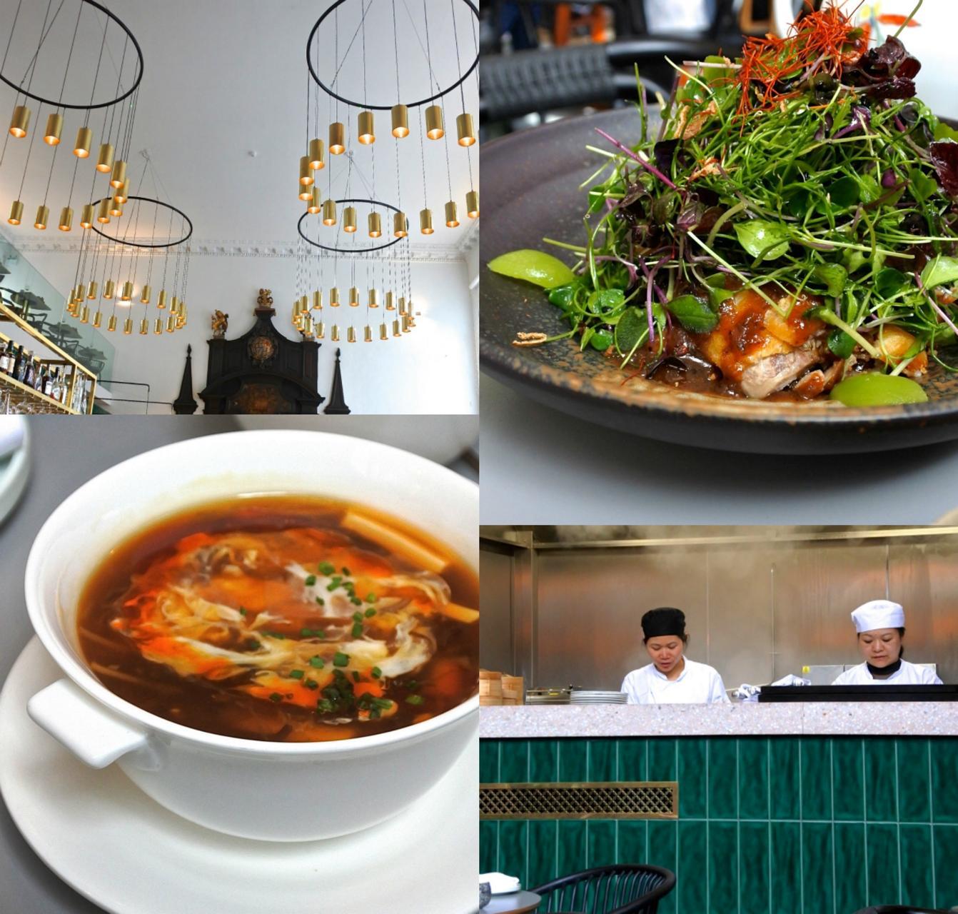 右上が鴨肉のサラダ。鴨は揚げてあるので、とてもボリューミー。左下がホット&サワー・スープ。こちらもいいお味☆